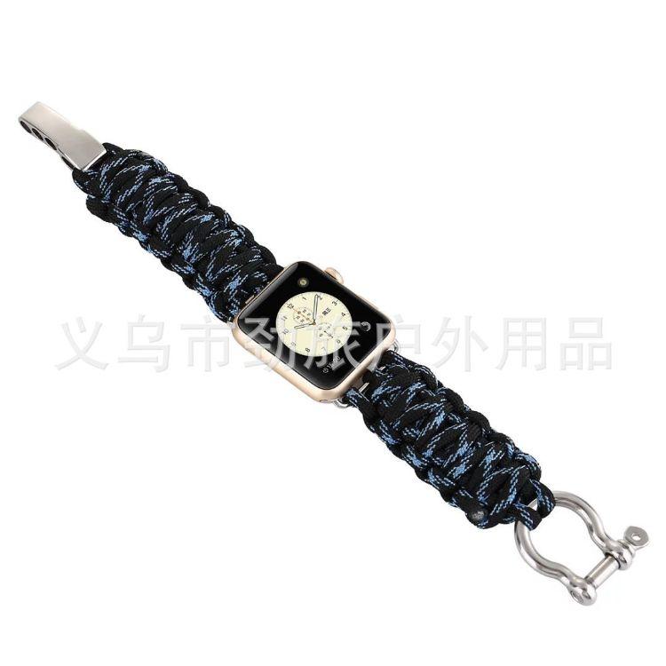 厂家直销热销苹果手表伞绳表带 户外七芯伞绳尼龙表带 iwatch表带
