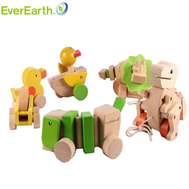 德国Everearth婴幼儿童学步拖拉绳子玩具鸭蛋鳄鱼敲琴狗三角霸王