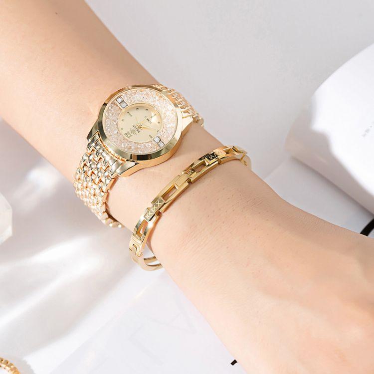 新品创意镂空刻字母时尚女士手镯不锈钢镀玫瑰金韩版女款手链手表
