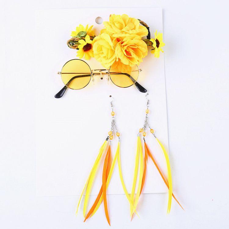 厂家直销新款黄色菊花眼镜 发带 耳环 套装节日装扮用品