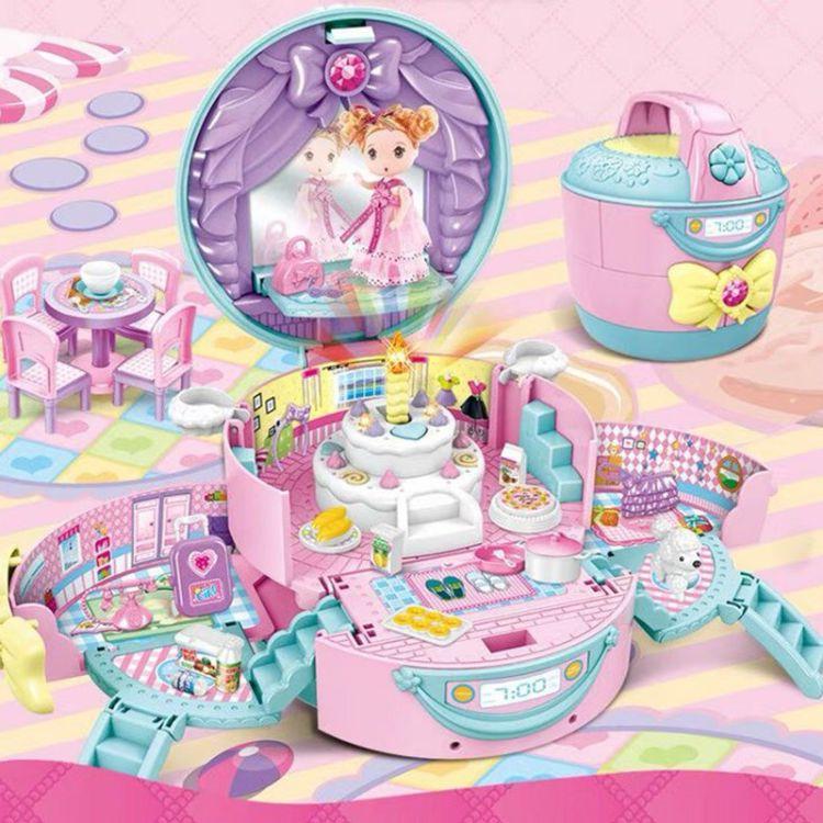 甜心电饭煲城堡别墅带灯光音乐提包屋自主拼装女孩过家家益智玩具