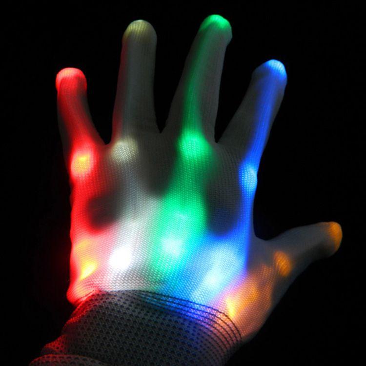 led发光手套万圣节手套舞台表演手套光纤灯发光手套厂家直销