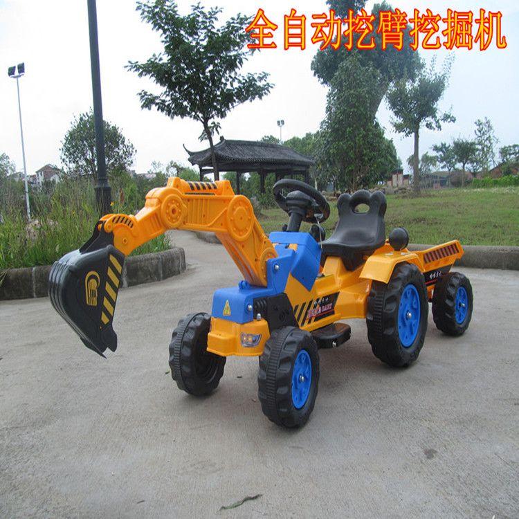 包邮电动脚踏可坐可骑大型儿童挖掘机挖土机推土机翻斗工程车童车