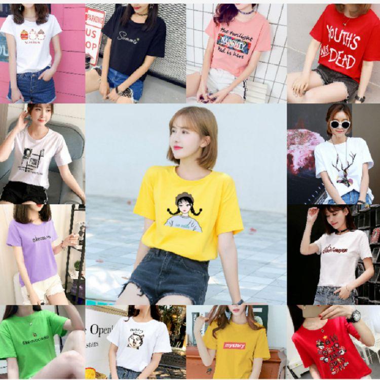 印花短袖T恤2019新款夏装韩版宽松百搭体恤白色半袖上衣便宜短袖