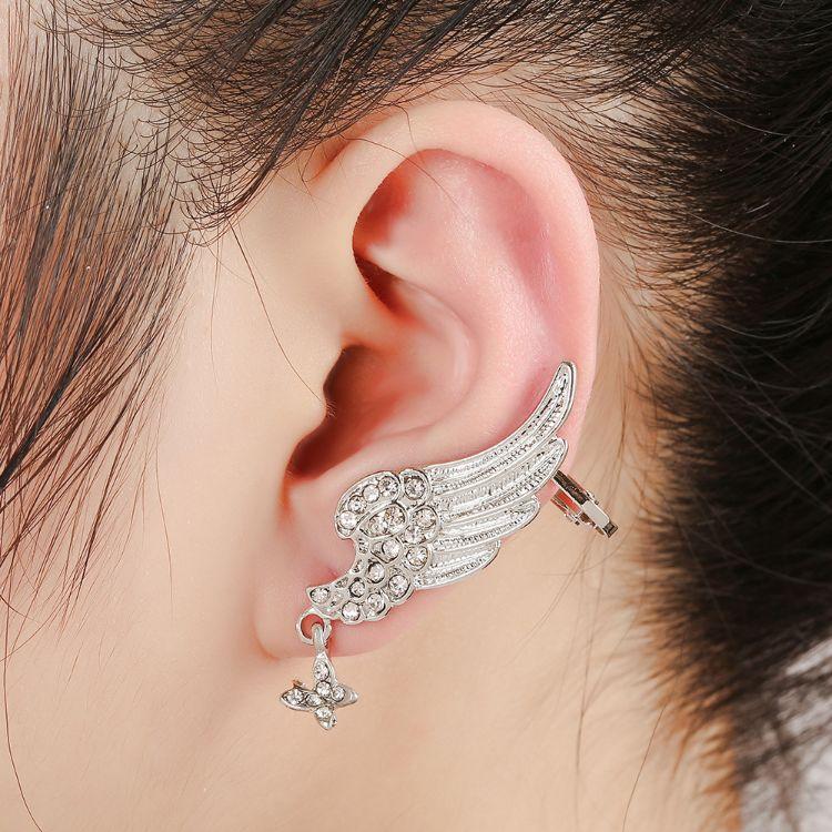 欧美有耳针款耳坠流行长款单边耳骨夹耳饰义乌特价创意耳夹批发