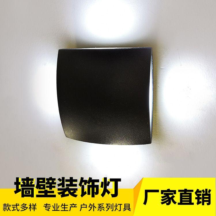 现代 LED压铸铝材 户外墙壁防水壁灯 方形过道阳台灯一件代发套件