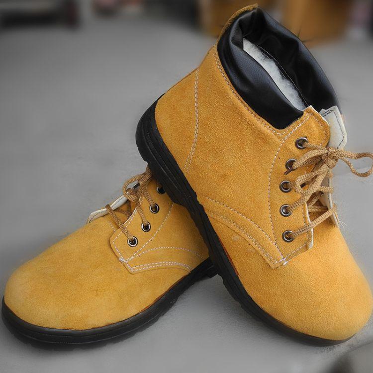 厂家直销 冬季加绒加棉工作鞋 高帮防砸劳保鞋 保暖防寒耐磨