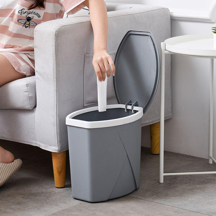 创意家用有盖垃圾桶 卫生间客厅简约垃圾桶 多功能翻盖纸篓101