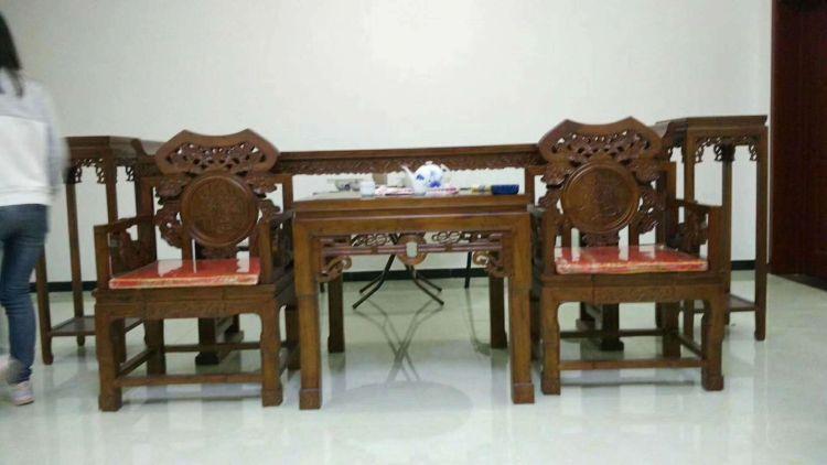 强盛老榆木家具  明清仿古中堂六件套 实木条案太师椅 八仙桌组合