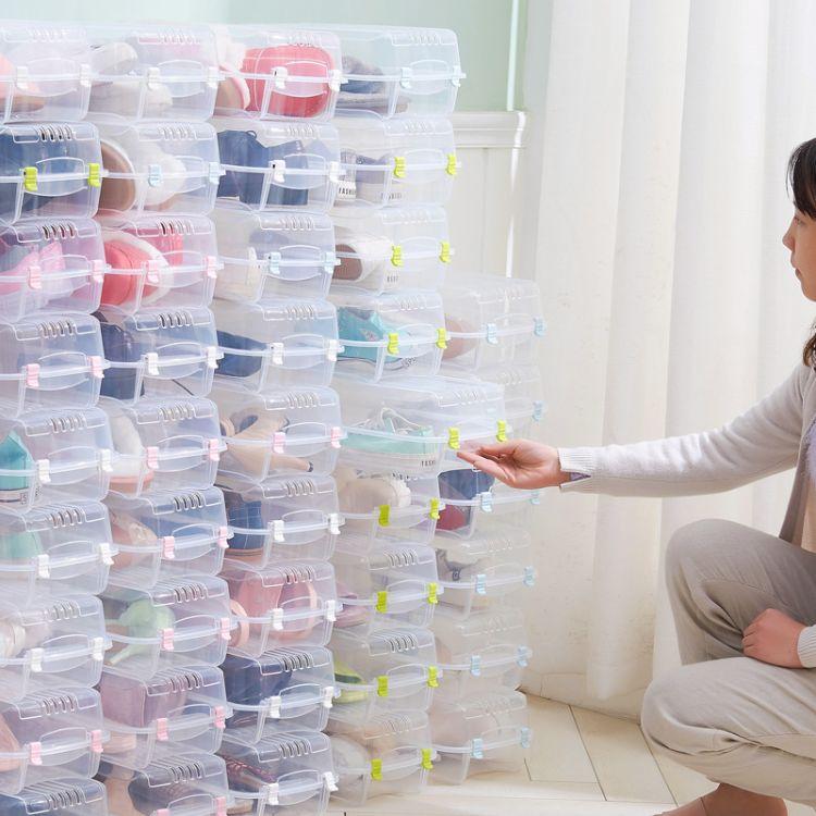 桑代家用简易塑料透明鞋盒宿舍加厚装鞋子收纳盒防尘自由组合整理