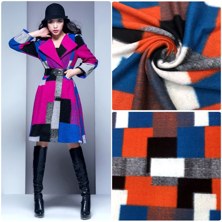 厂家直销高品质时尚外套女装针织毛呢面料 现货50毛拼图格子
