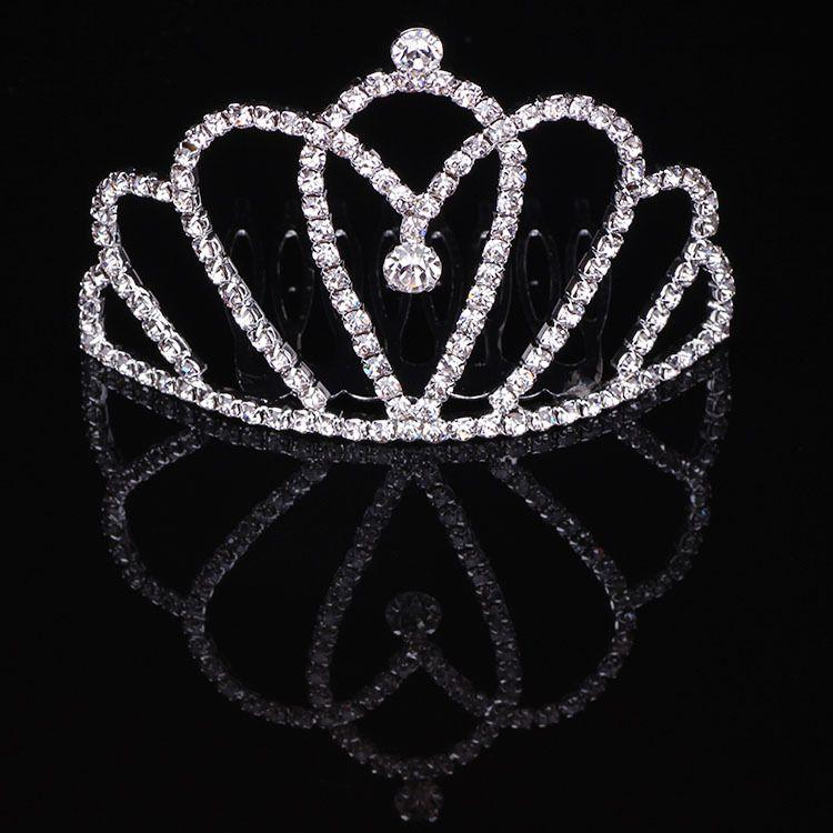儿童皇冠插梳头饰发饰 女童王冠 女孩水钻表演 演出公主皇冠饰品