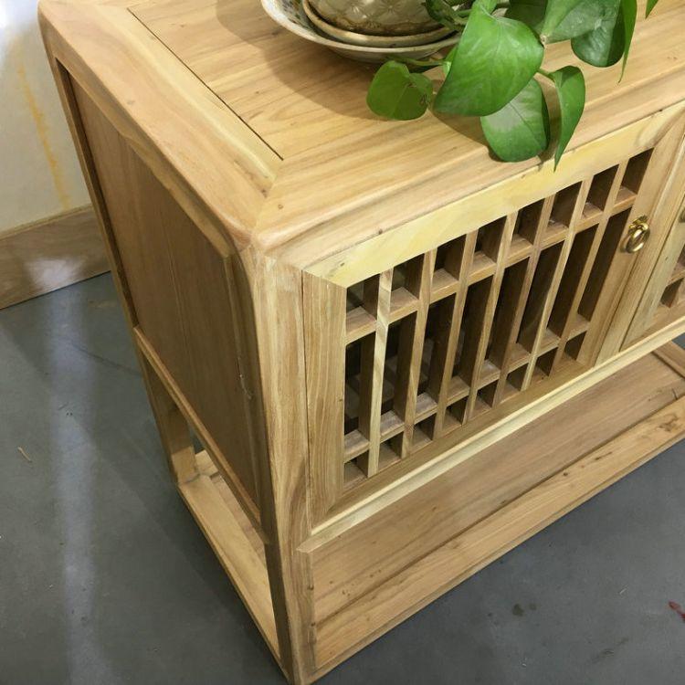 新款中式茶水柜 免漆仿古榆木茶水柜