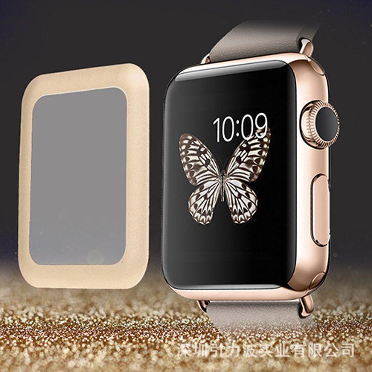适用于Apple Watch (38mm) 金属全覆盖钢化玻璃膜 保护膜清仓批发