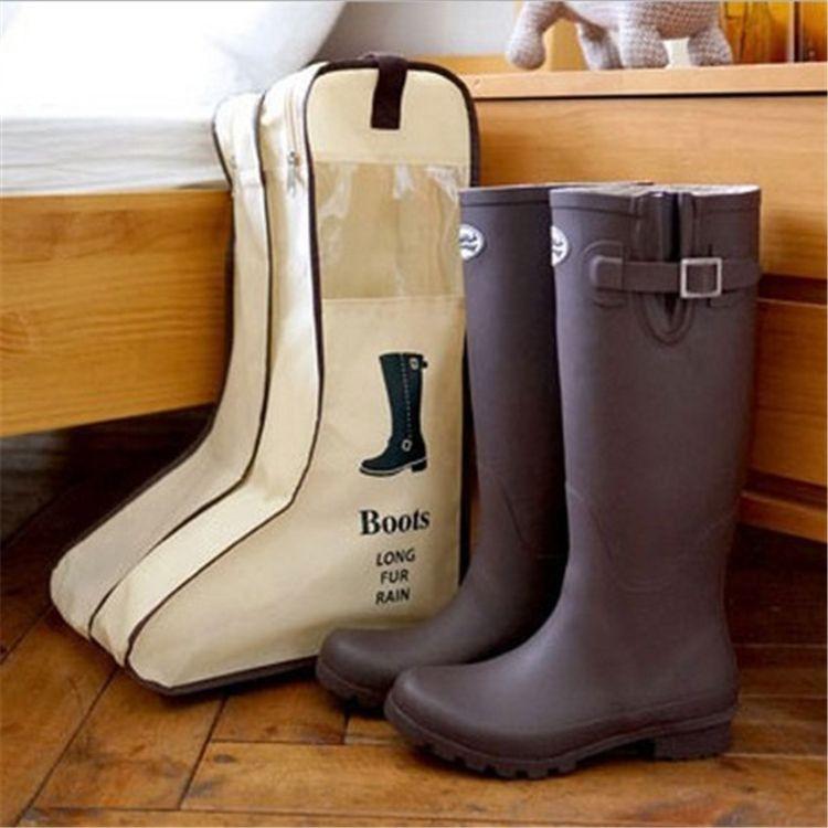 韩版旅行无纺布鞋袋 家居靴子收纳袋鞋子收纳包 可视防尘靴套靴罩