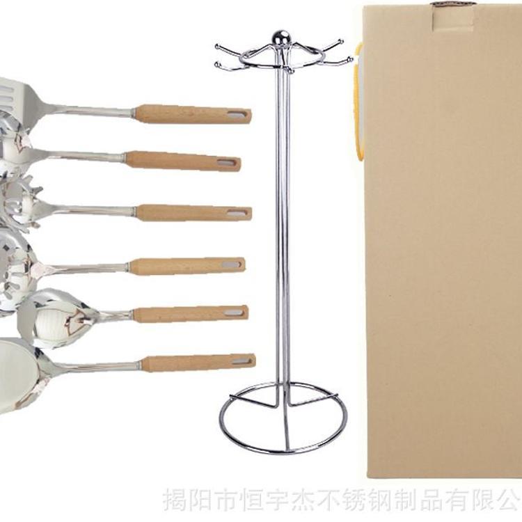 揭阳工厂厨房用具烹饪勺铲不锈钢厨具木柄隔热加厚炊具锅铲漏勺子