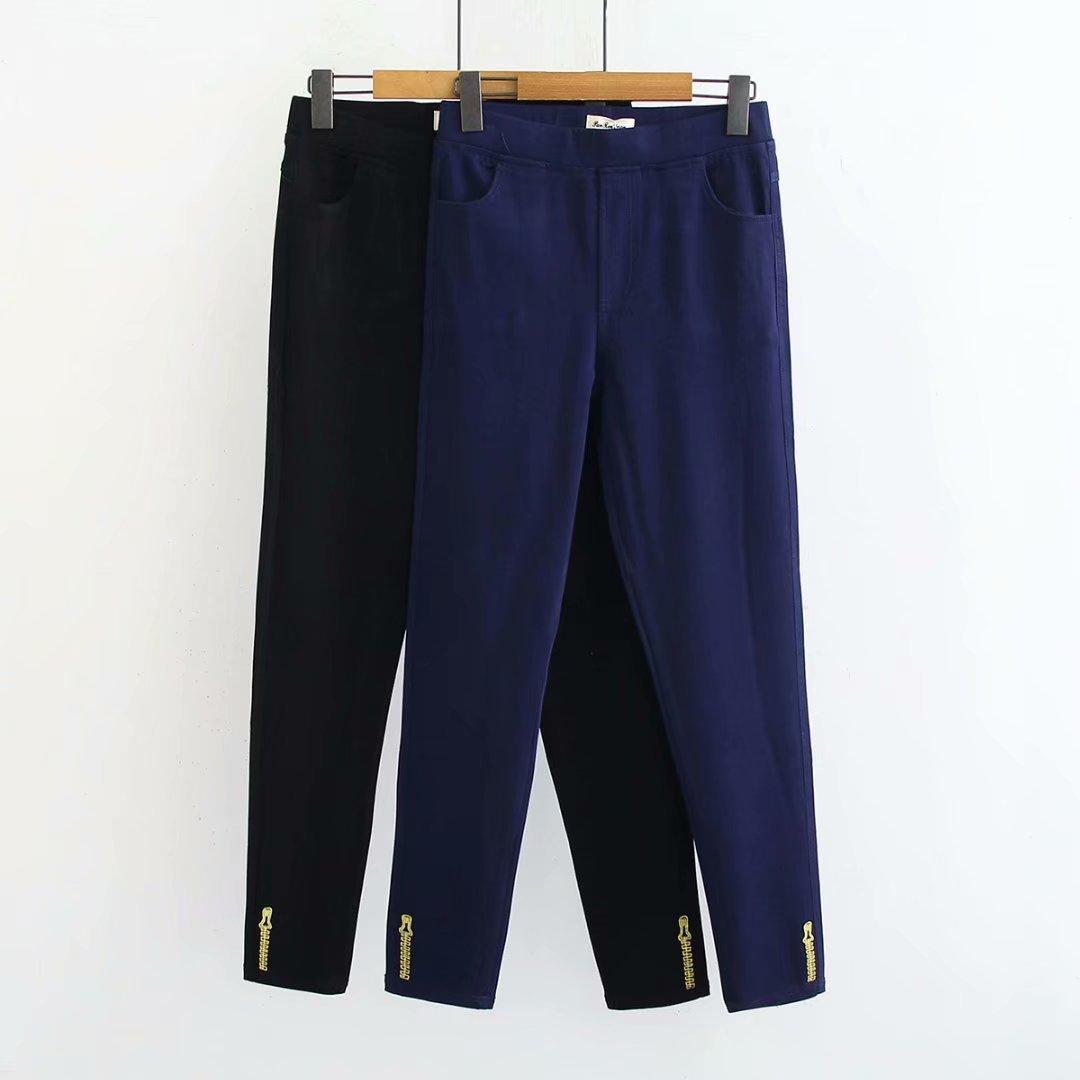 新款秋装2018大码女装韩版小脚裤胖mm显瘦拉链刺绣牛仔裤PR607