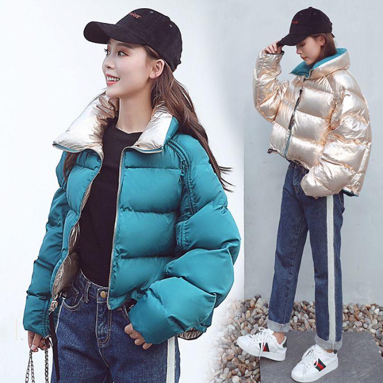 2018冬季明星同款亮面羽绒服时尚双面穿宽松短款女棉服潮外套