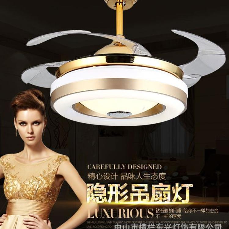 吊扇蓝牙音乐隐形风扇灯简约客厅卧室餐厅吊扇灯蓝牙音响LED灯