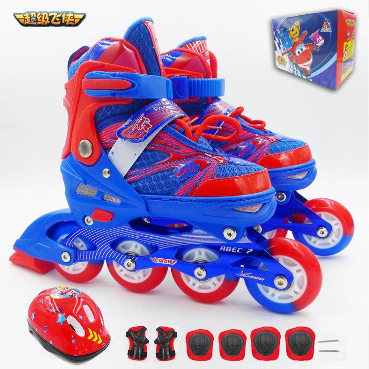 批发 超级飞侠儿童溜冰鞋套装带头盔护具全闪轮滑鞋可调节旱冰鞋