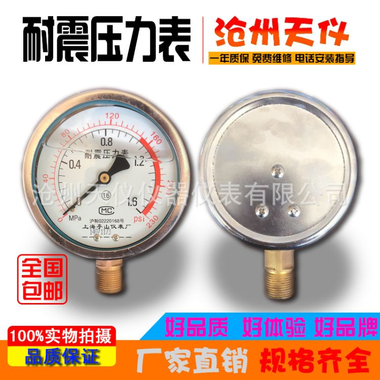 径向快装耐震精密压力表双针不锈钢耐震压力表y100