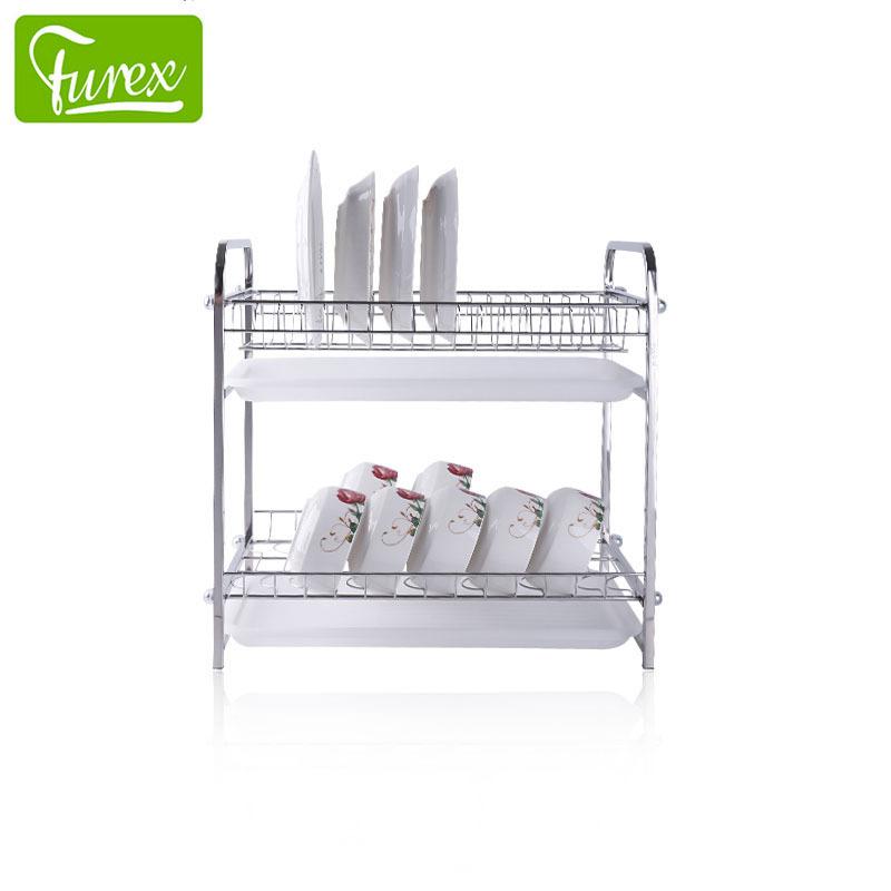 304不锈钢双层碗碟架 富瑞克斯经销批发 多功能厨房沥水置物架