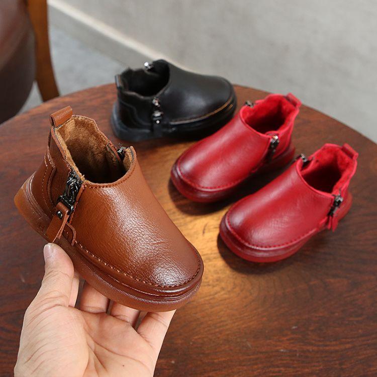 18年冬款真皮纯色儿童棉鞋 0-6岁中小童加棉皮鞋软底百搭宝宝棉鞋