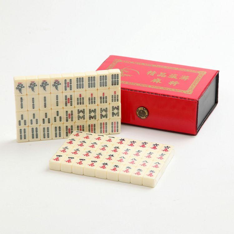 景区热卖旅游麻将迷你便携式小麻将精美皮盒包装亚克力工艺品批发