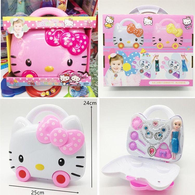 kitty猫带轮子饰品盒手提盒收纳盒 女孩饰品手提盒儿童过家家玩具