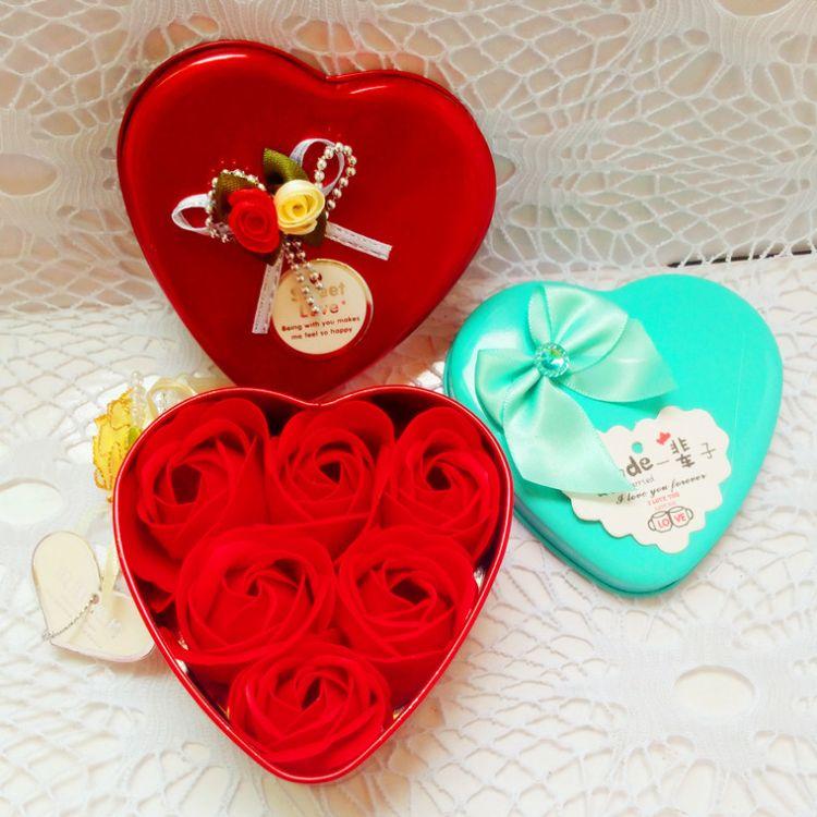 喜糖盒子结婚喜庆婚庆用品 心形铁盒玫瑰花学生促销定制赠品批发