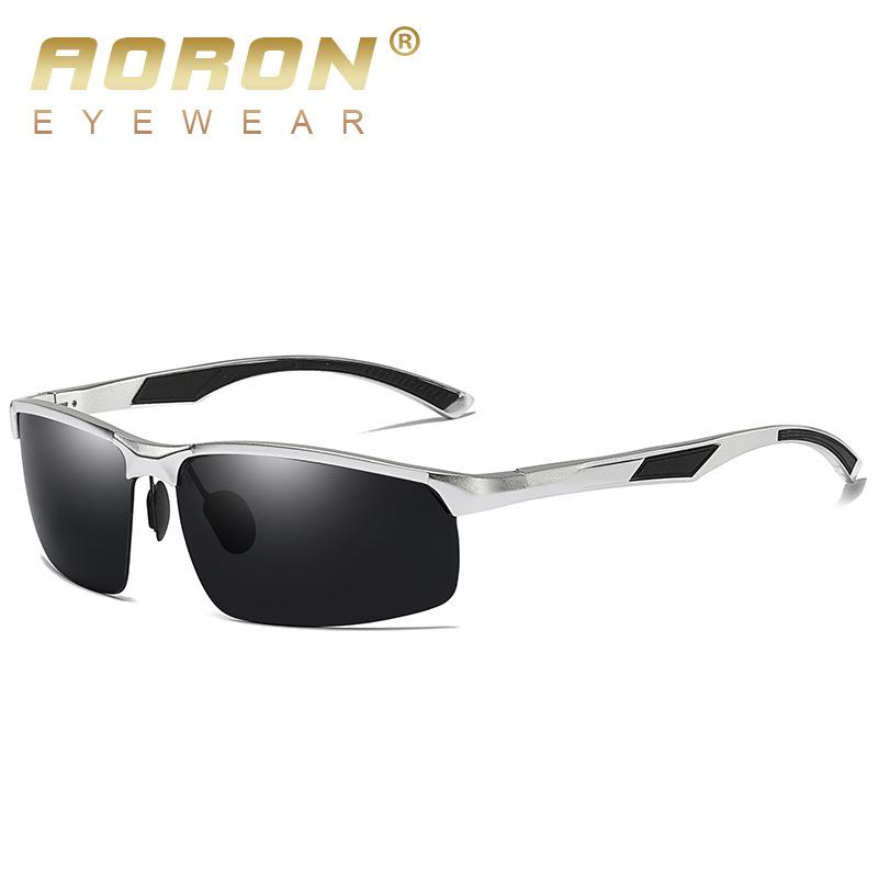 AORON新款厂家直销运动铝镁偏光太阳镜 骑行眼镜 墨镜批发8001-1