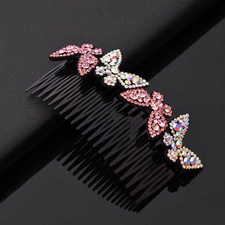 韩版时尚新款女士发梳外贸新娘盘发器蝴蝶结镶钻发饰个性发夹批发