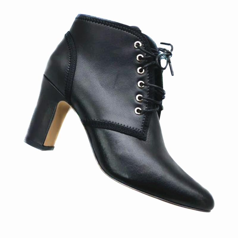 2018新款女秋冬女鞋圆头粗跟 系带真皮女短靴 高跟低筒马丁女靴子