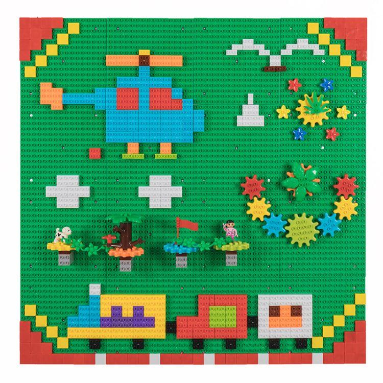儿童早教可旋转拼插积木玩具 幼儿园益智墙面积木玩具