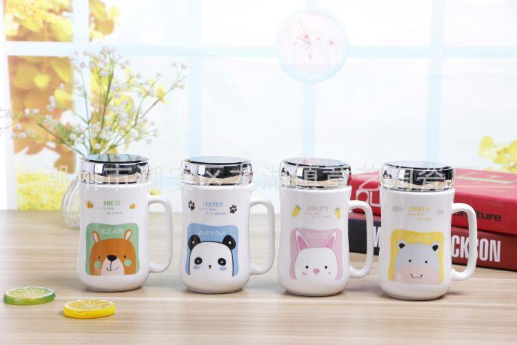 创意陶瓷杯镜面卡通动物马克杯带盖陶瓷杯定制订做LOGO