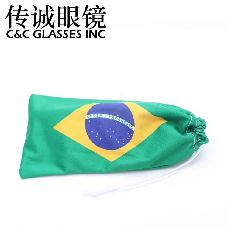 眼镜袋 束口超细纤维收纳袋 首饰太阳镜袋 世界杯国旗眼镜布袋
