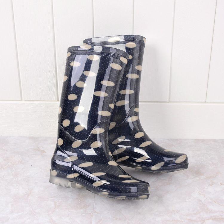 水晶高筒女式雨鞋时尚波点高帮雨靴防滑耐磨淘宝水鞋厂家厂价批发