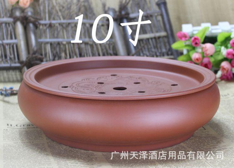 潮州批发采购酒楼功夫茶船宜兴朱泥圆形茶盘茶海茶碗托盘储水式