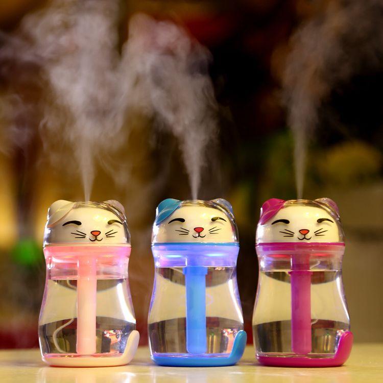 招财猫加湿器 创意炫彩夜灯静音家用办公迷你加湿器美容补水雾化