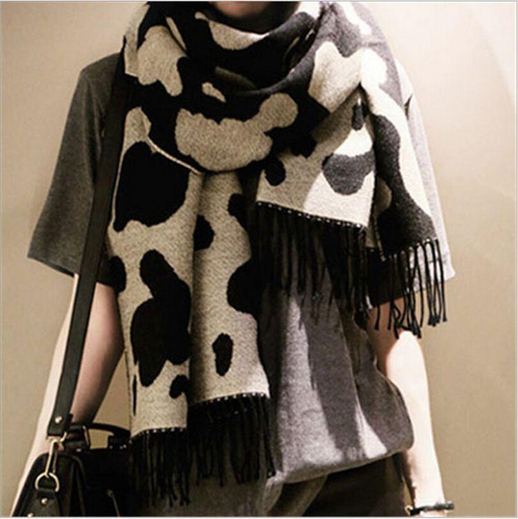 韩版 新款爆款围巾 奶牛斑纹豹纹围巾披肩 仿羊绒休闲百搭围巾