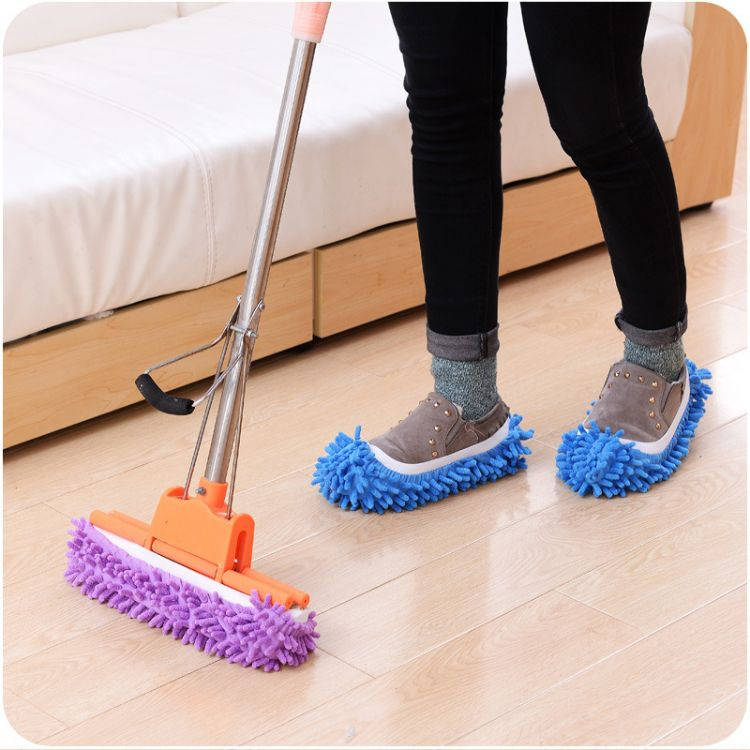 雪尼尔拖鞋鞋套 拖地拖鞋清洁地板可拆洗抹布擦地拖鞋单只价