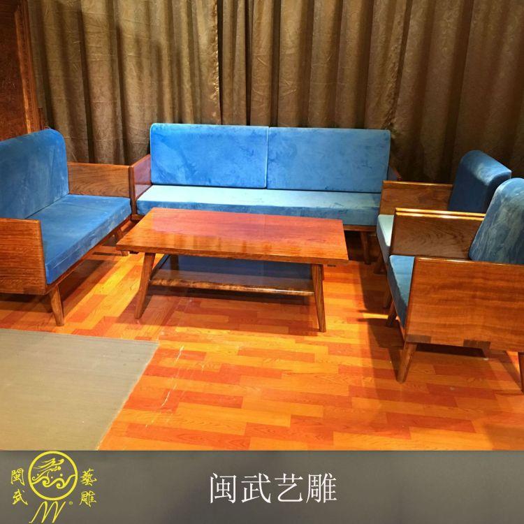 闽武艺雕全国家居厂家批发 现代客厅家具 客厅巴花实木原木沙发组合套装 实木家具休闲沙发