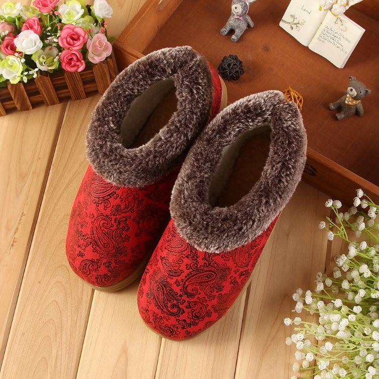 海宁真皮印花 冬季家居家室内地板情侣保暖皮拖鞋 男女防滑厚底