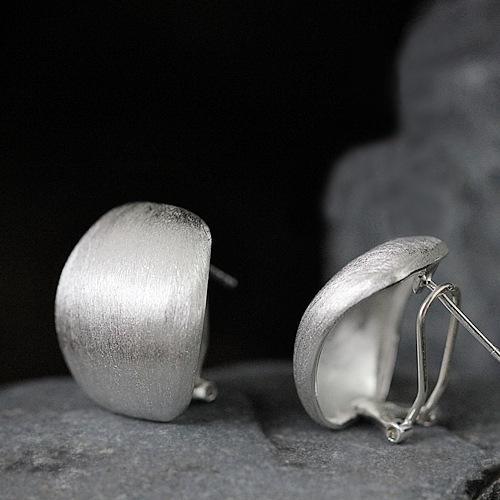 原创手工银饰品 明星同款S925纯银耳扣拉丝磨砂耳饰女耳坠耳环