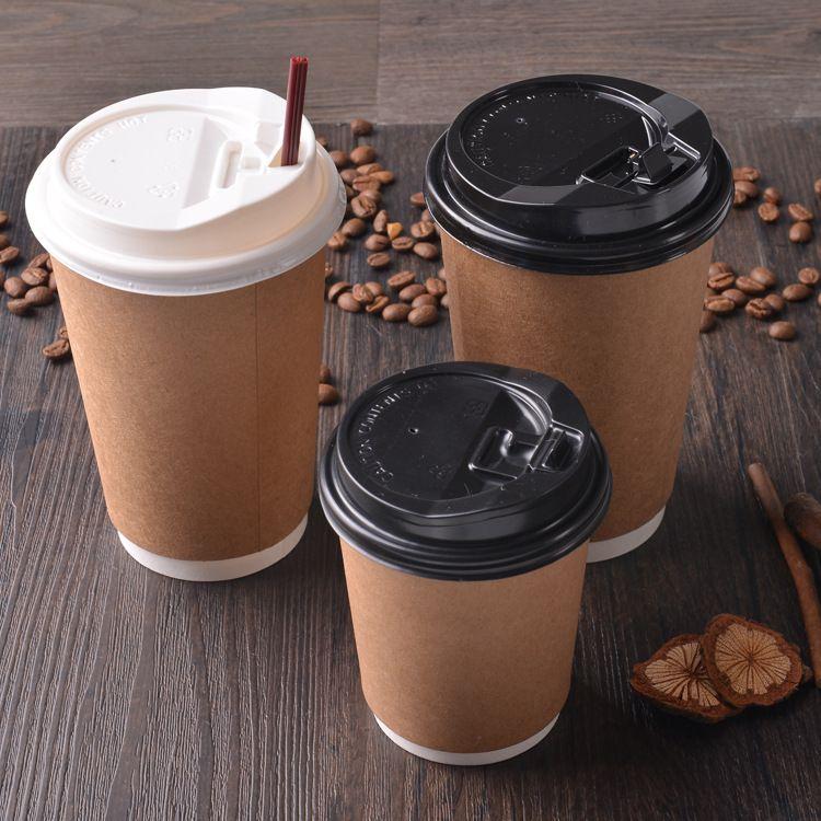 咖啡杯 一次性牛皮纸杯双层纸杯定制LOGO外卖打包隔热奶茶杯