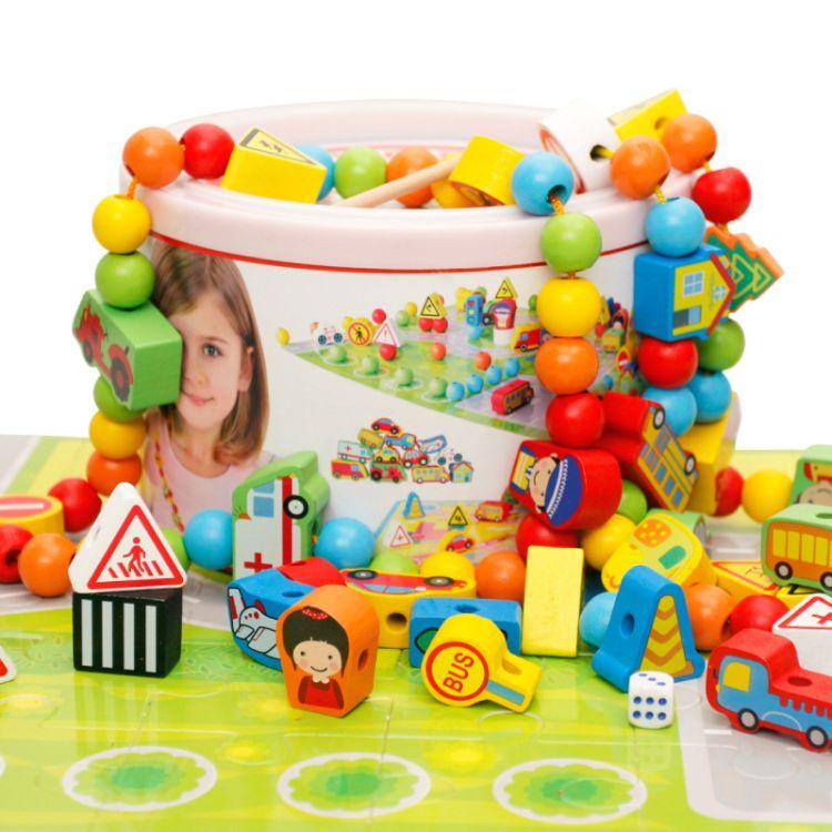 木丸子儿童串珠绕珠穿线玩具益智力男孩女宝宝积木1-2-3岁5-6周