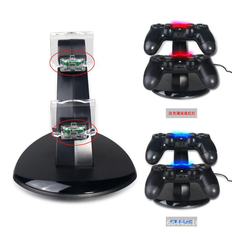OIVO 新款PS4 PRO SLIM游戏手柄充电器PS4带转灯手柄充电底座支架