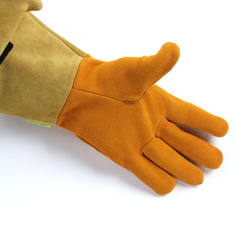 威特仕10-2327 黄色二层皮焊工手套 氩弧焊电焊防火隔热电焊手套