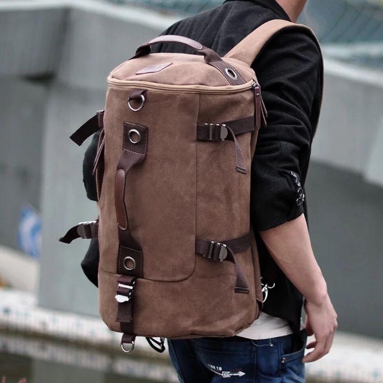 帆布双肩背包 多功能男士旅行学生韩版圆筒包 户外休闲大容量双肩背包