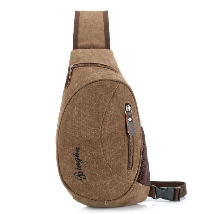 厂家批发新款男士帆布胸包单肩斜跨多功能背包户外休闲男包可定制